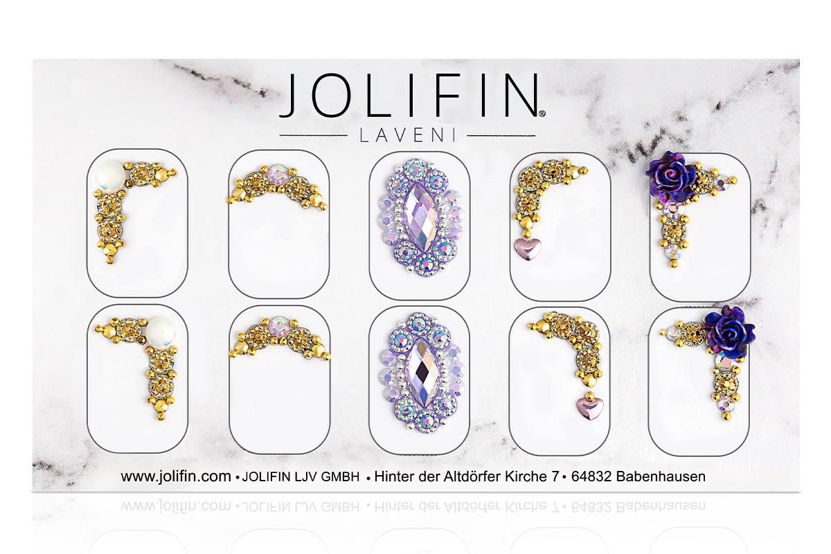 Jolifin LAVENI PRO Handmade Strass-Slider - silber & gold 10