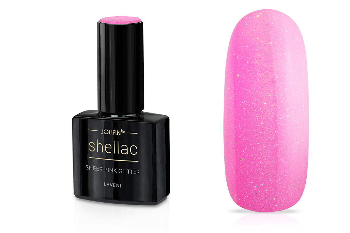 Jolifin LAVENI Shellac - sheer pink Glitter 12ml