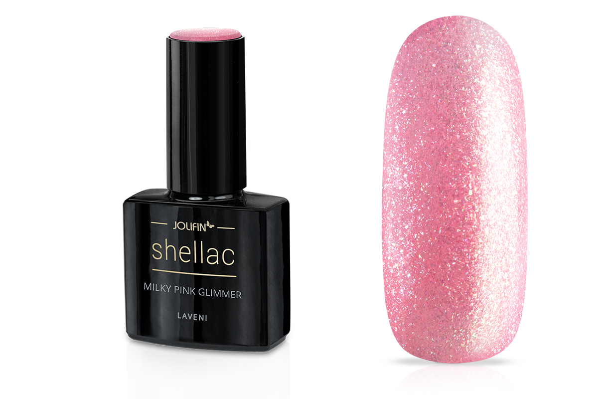 Jolifin LAVENI Shellac - milky pink Glimmer 12ml