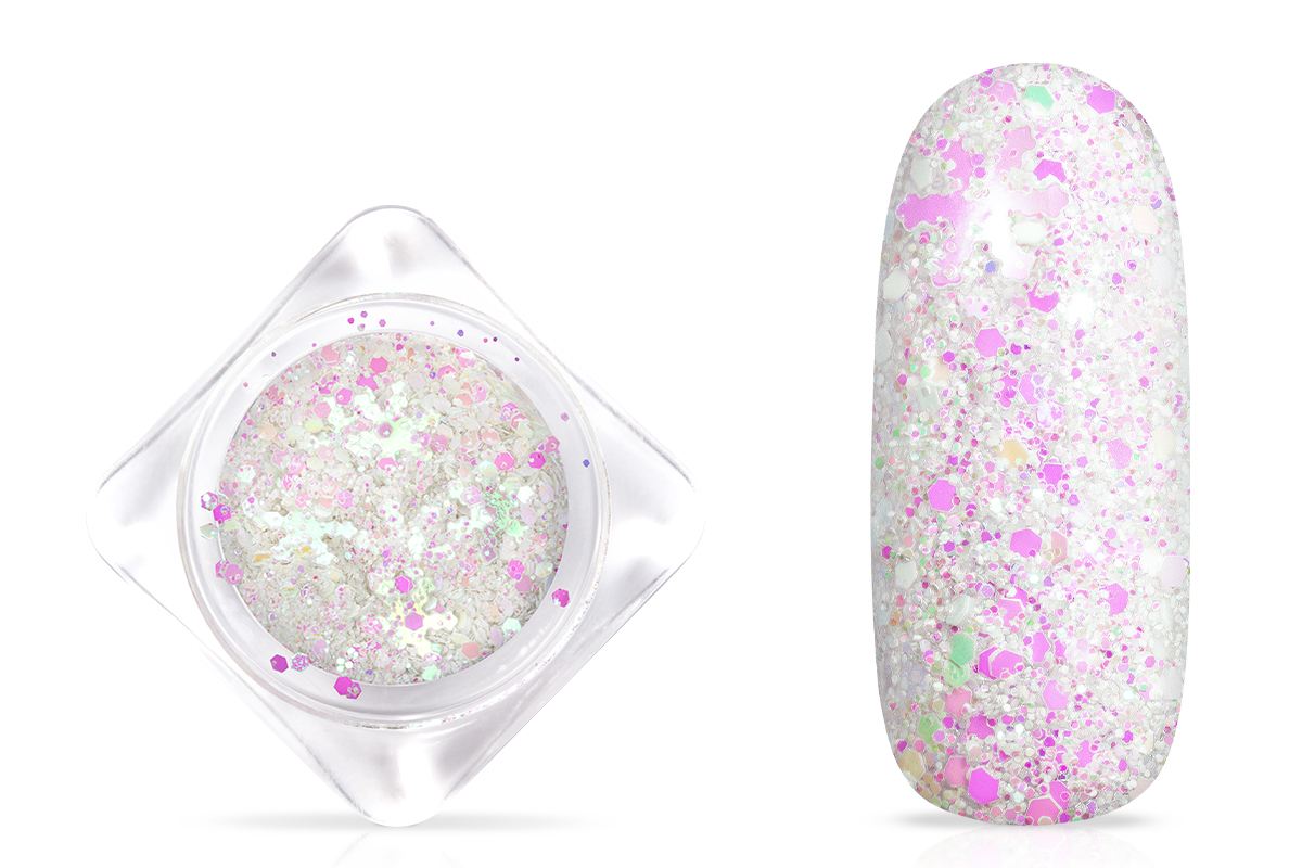 Jolifin Snowflake Glitter - white aurora