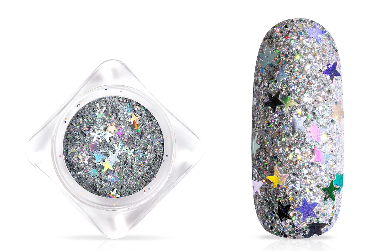 Jolifin Shooting Star Glitter - silver hologramm