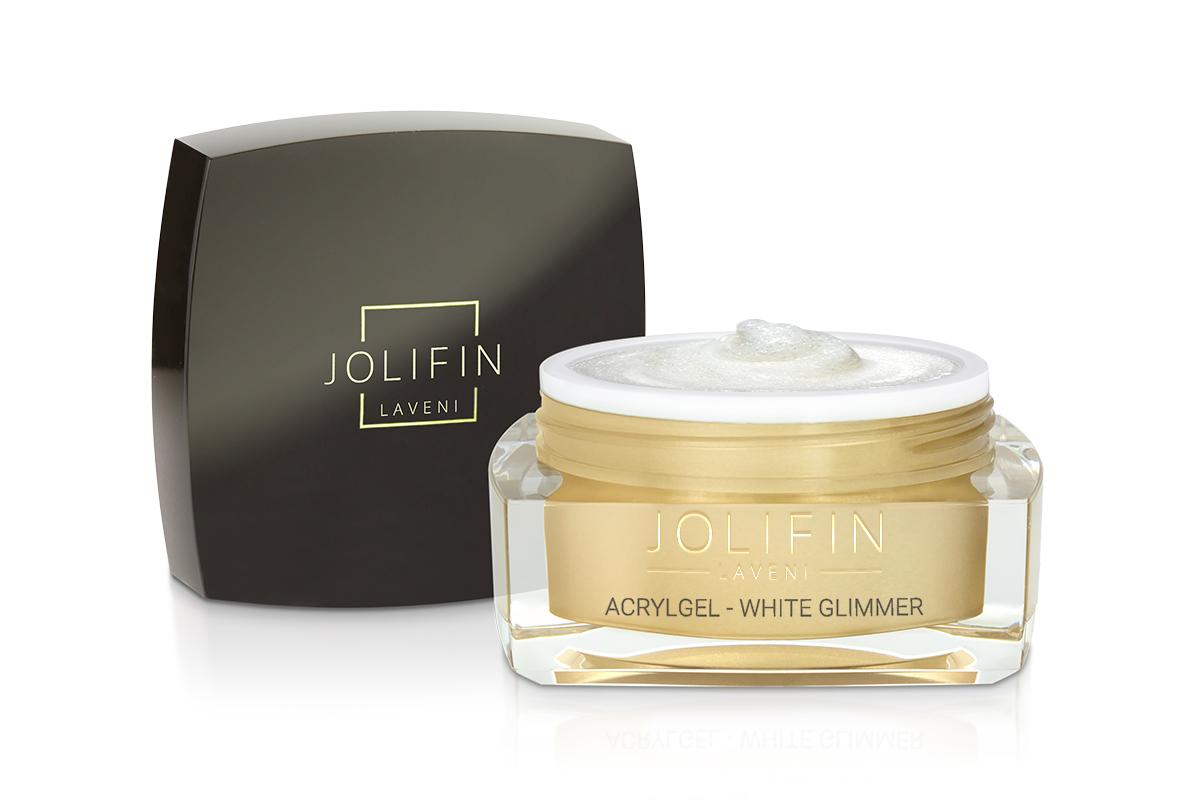 Jolifin LAVENI AcrylGel - white Glimmer 15ml