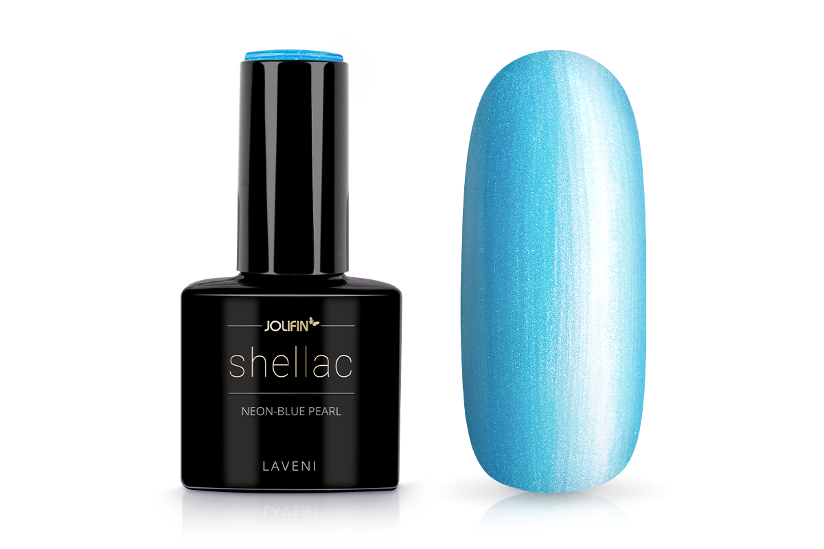 Jolifin LAVENI Shellac - neon-blue pearl 12ml
