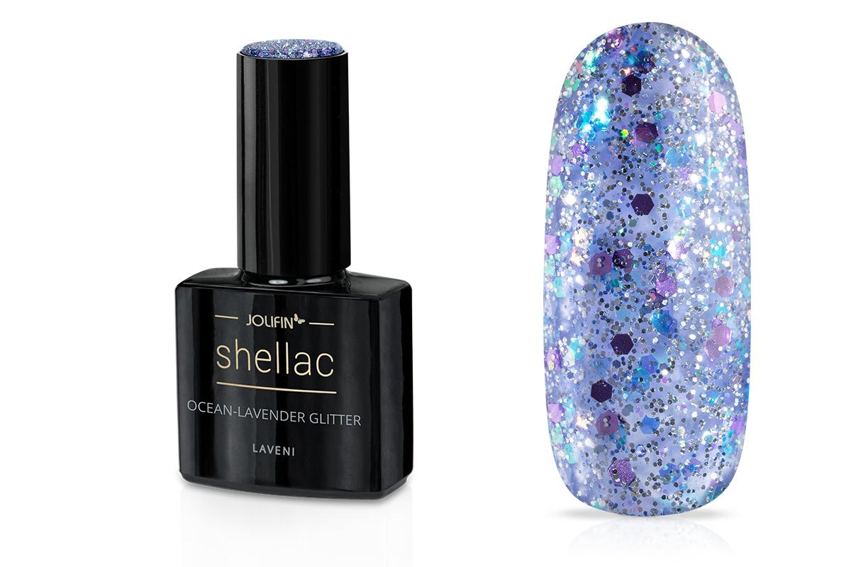 Jolifin LAVENI Shellac - ocean-lavender Glitter 12ml