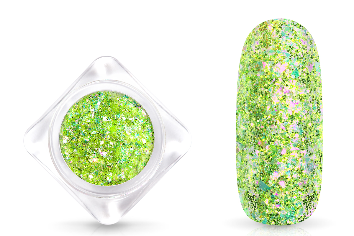 Jolifin Glittermix Flakes - green-rosy