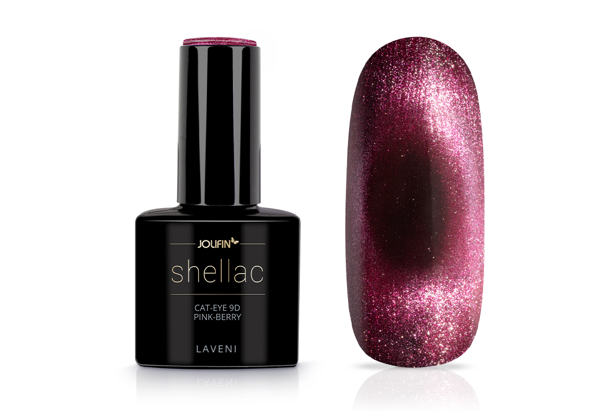 Jolifin LAVENI Shellac - Cat-Eye 9D pink-berry 12ml