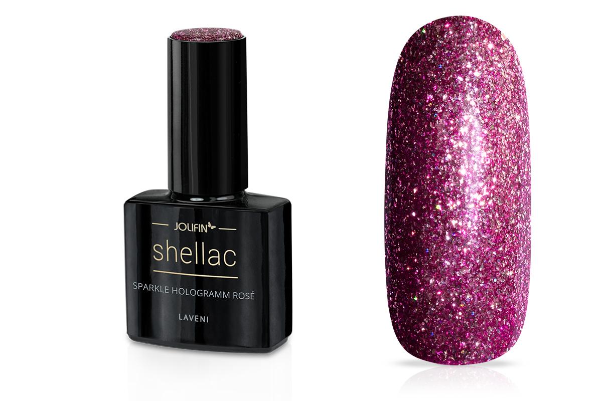 Jolifin LAVENI Shellac - sparkle hologramm rosé 12ml
