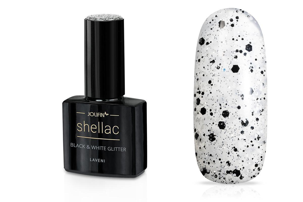 Jolifin LAVENI Shellac - black & white Glitter 12ml