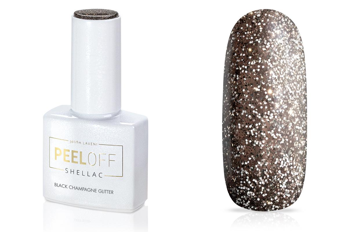 Jolifin LAVENI Shellac PeelOff - black champagne Glitter 12ml