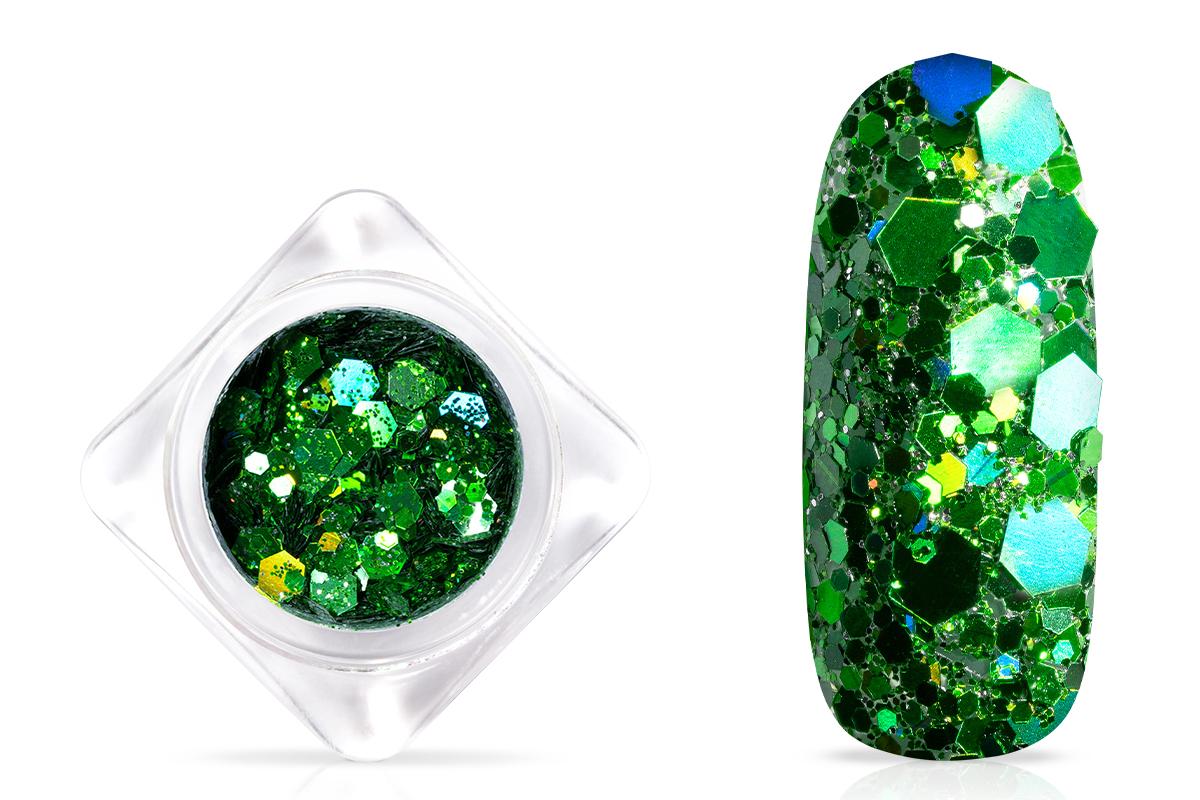 Jolifin Hexagon Glittermix - hologramm green