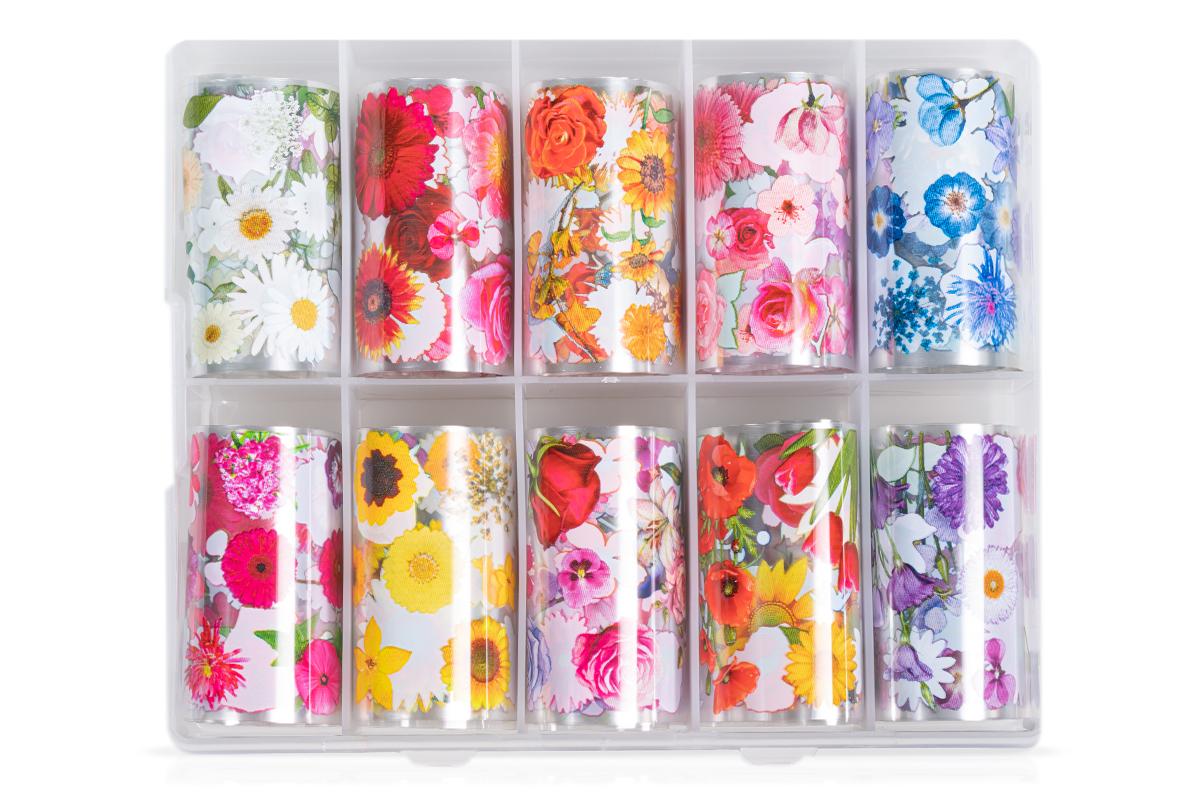 Jolifin Transfer-Nagelfolien Box - Blumen einzeln