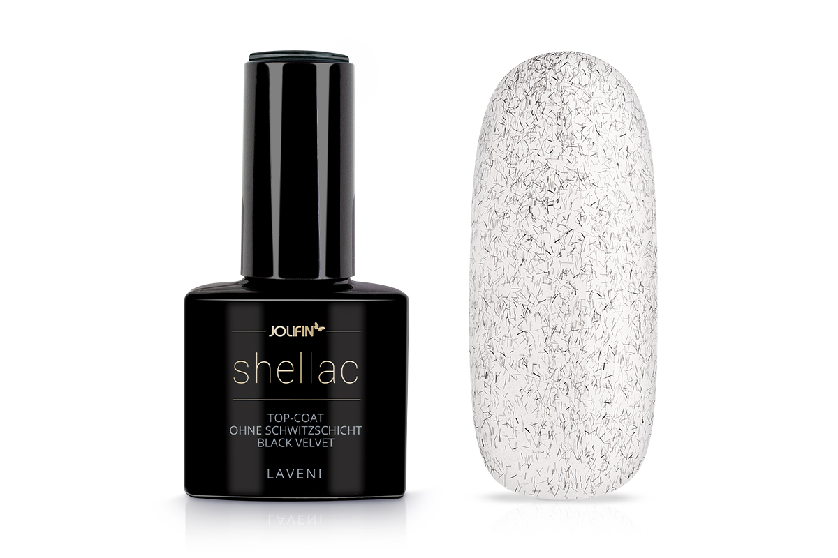 Jolifin LAVENI Shellac - Top-Coat ohne Schwitzschicht black velvet 12ml