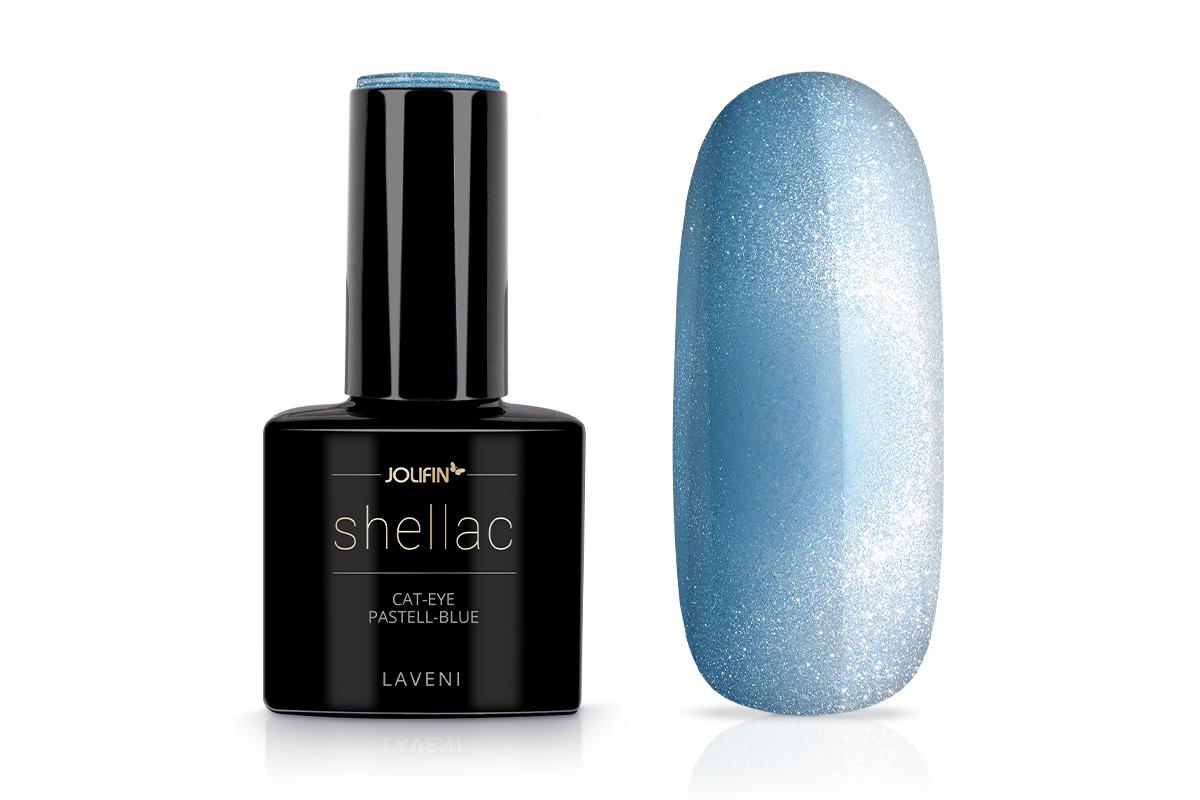 Jolifin LAVENI Shellac - Cat-Eye pastell-blue 12ml
