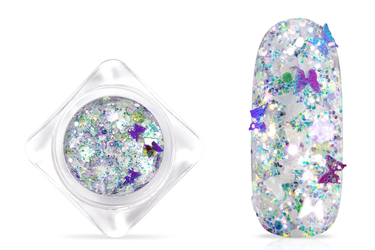 Jolifin Nightshine Butterfly Glitter - rainbow white