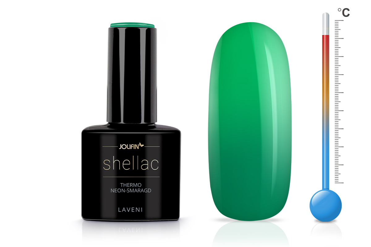 Jolifin LAVENI Shellac - Thermo neon-smaragd 12ml