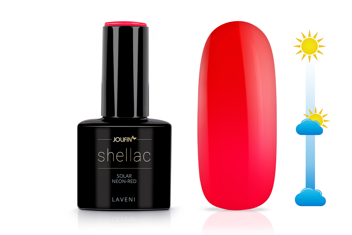 Jolifin LAVENI Shellac - Solar neon-red 12ml