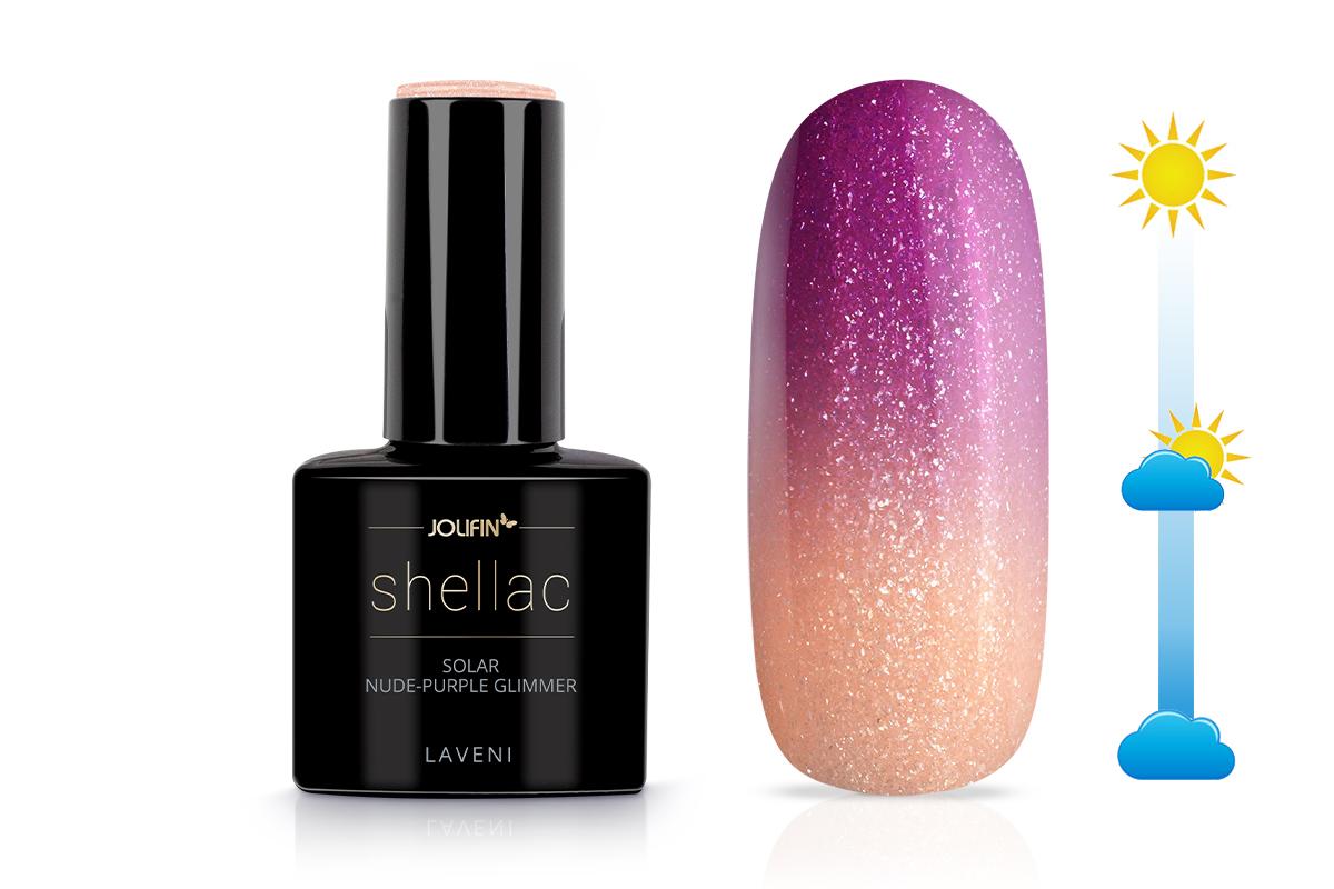 Jolifin LAVENI Shellac - Solar nude-purple Glimmer 12ml