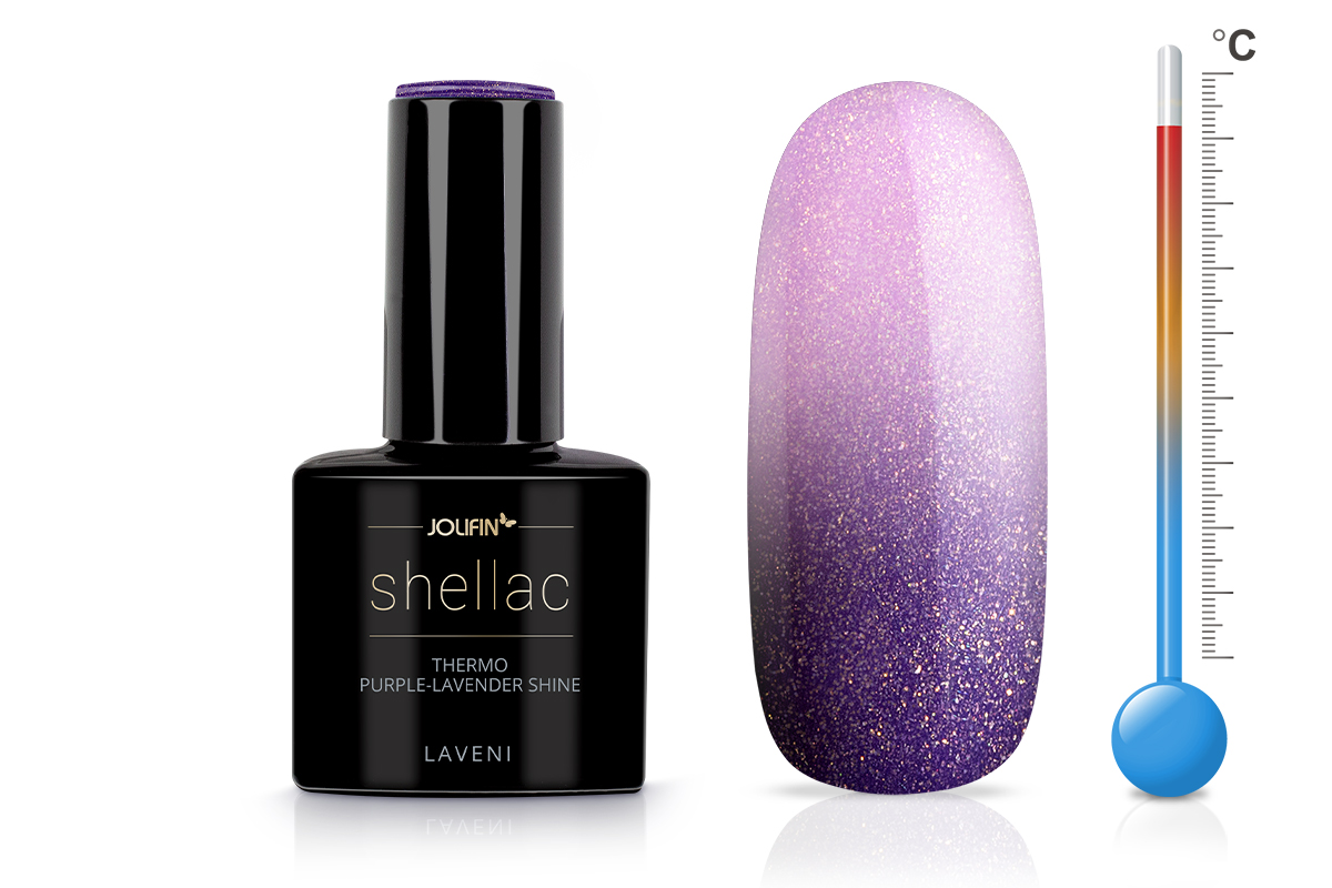 Jolifin LAVENI Shellac - Thermo purple-lavender shine 12ml