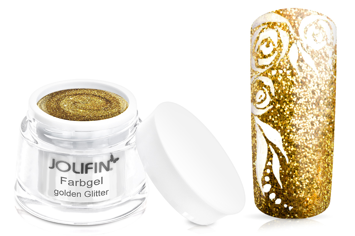 Jolifin Farbgel golden Glitter 5ml