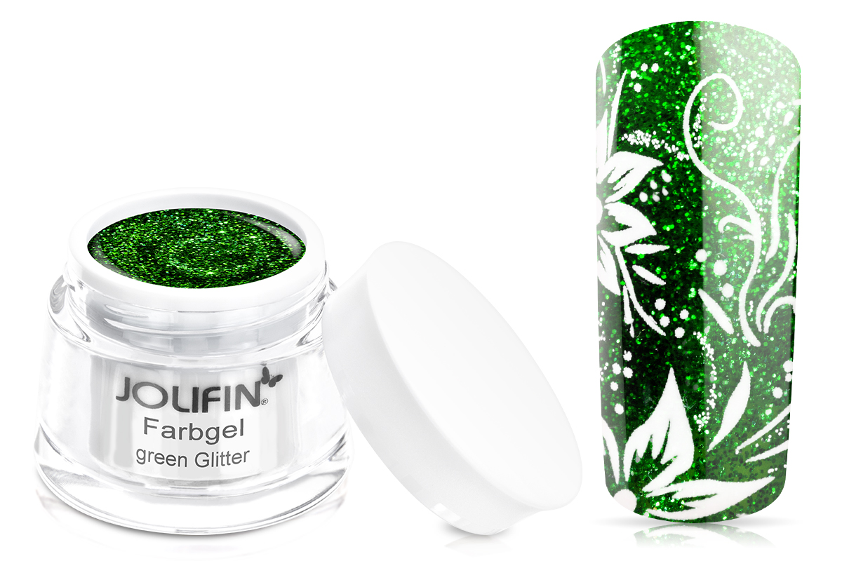 Jolifin Farbgel green Glitter 5ml