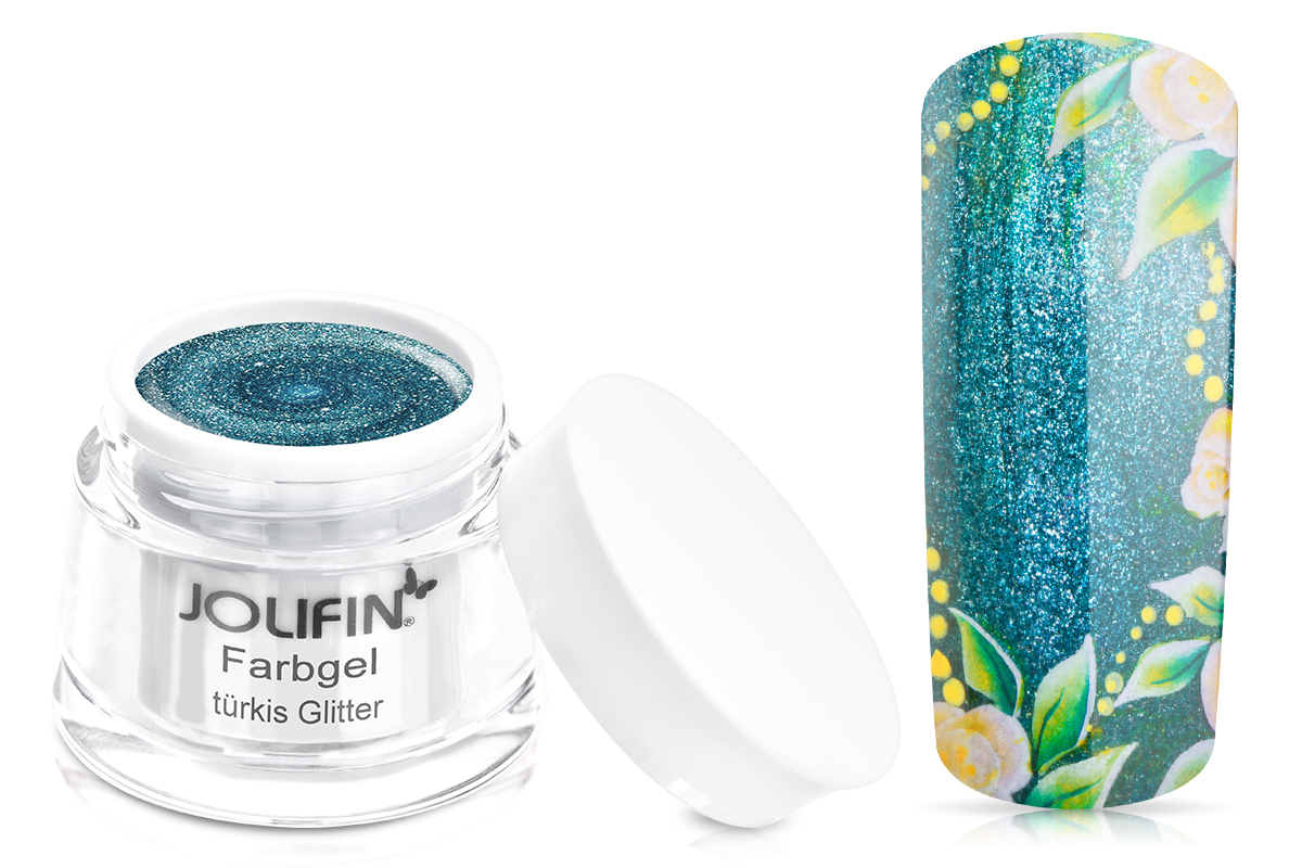 Jolifin Farbgel 4plus türkis Glitter 5ml