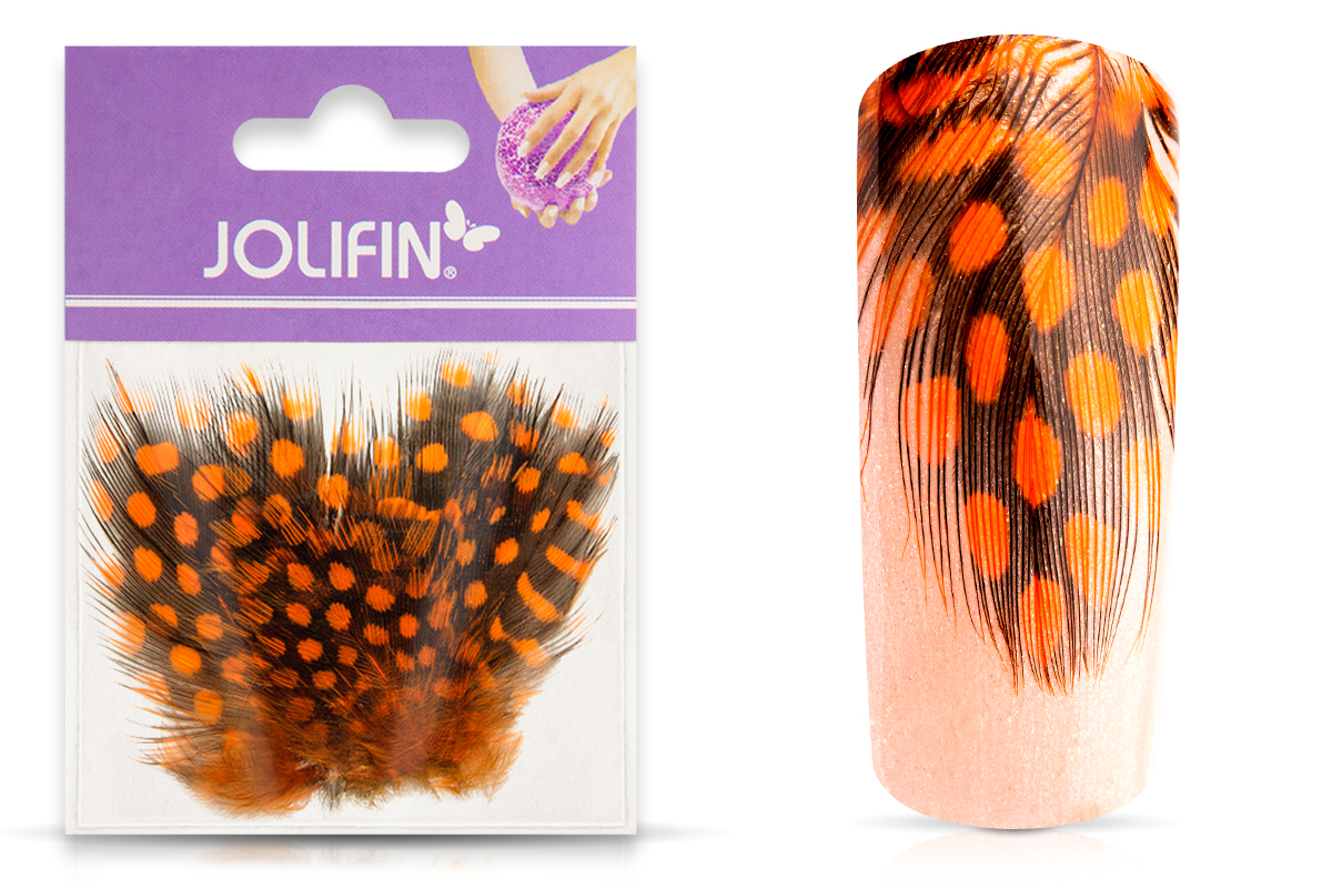 Jolifin Nailart Feder orange leopard