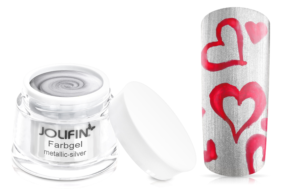 Jolifin Farbgel 4plus metallic silver 5ml