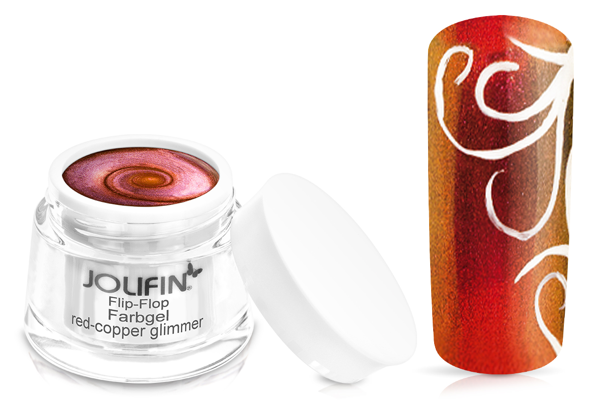 Jolifin Flip-Flop Farbgel 4plus red-copper glimmer 5ml