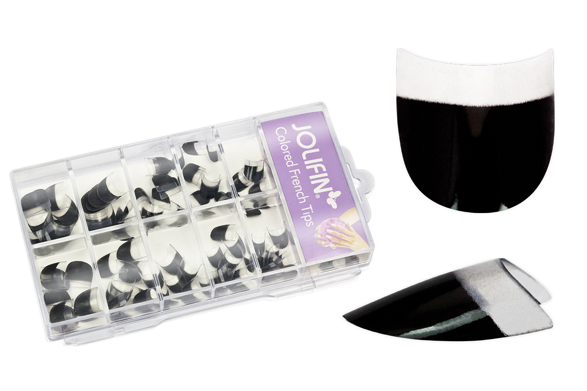 Jolifin 100er Tipbox - Colored French Tips black