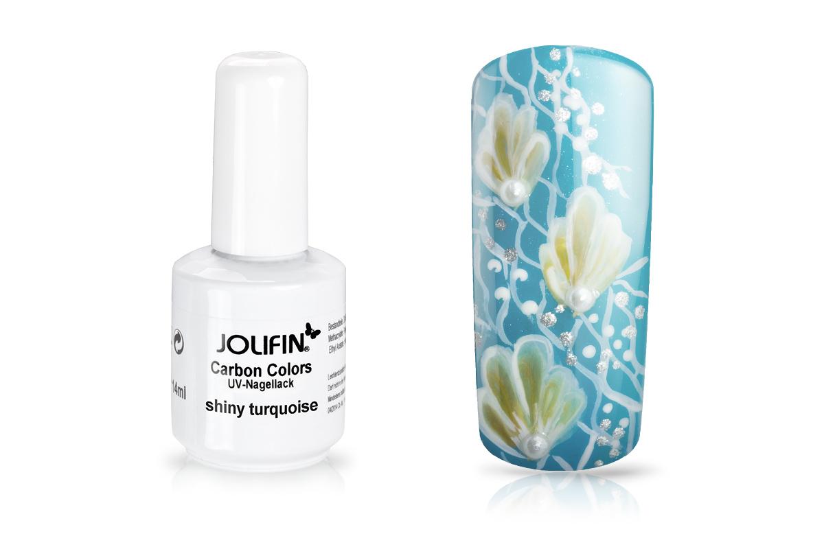 Jolifin Carbon Colors UV-Nagellack shiny turquoise 14ml - Pretty ...