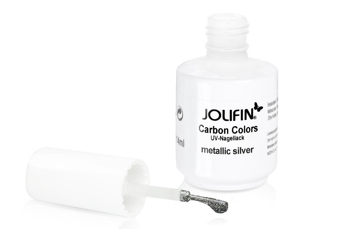 Jolifin Carbon Colors UV-Nagellack Metallic Silver 11ml - Pretty Nail Shop 24