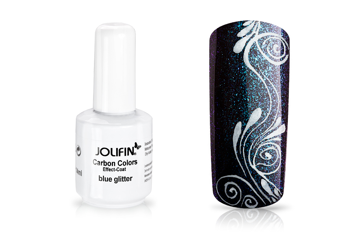 Jolifin Carbon Colors Effect-Coat blue glitter 14ml