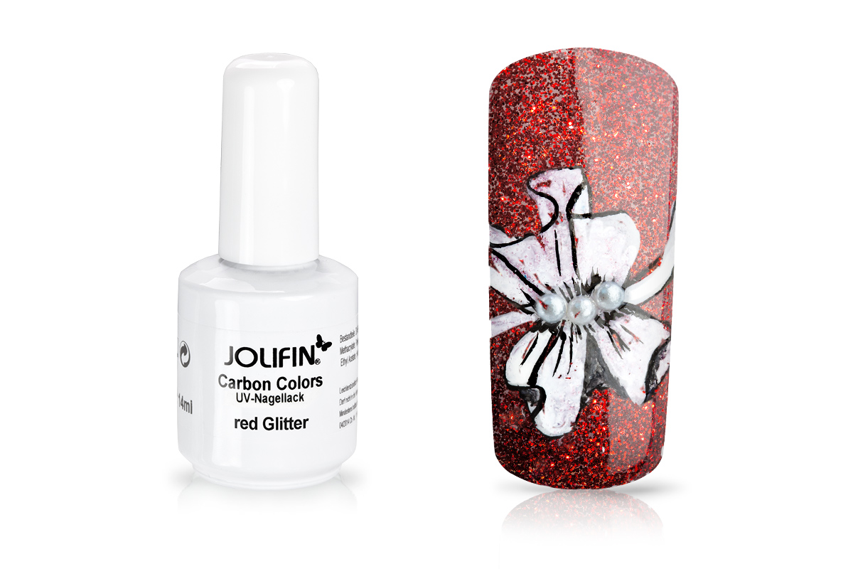 Jolifin Carbon Colors UV-Nagellack red Glitter 14ml