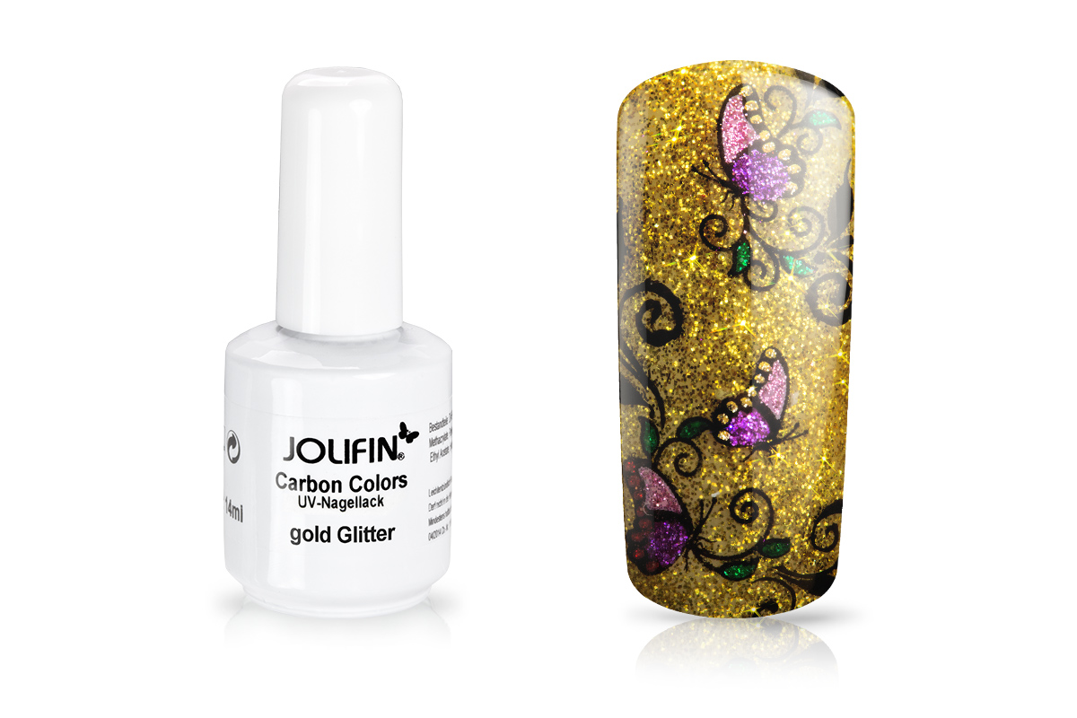 Jolifin Carbon Colors UV-Nagellack gold Glitter 11ml