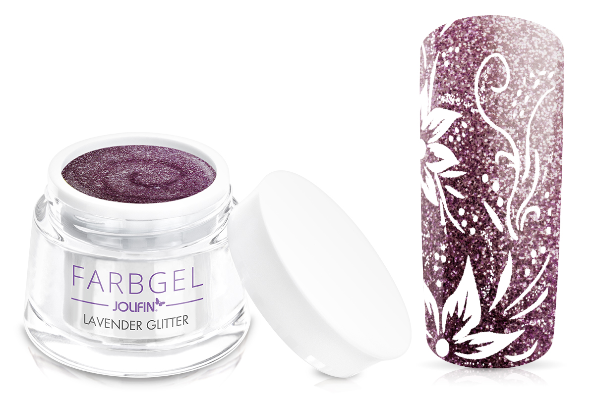 Jolifin Farbgel 4plus lavender Glitter 5ml