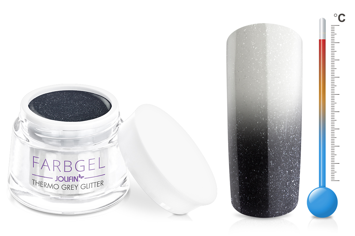 Jolifin Thermo Farbgel grey glitter 5ml