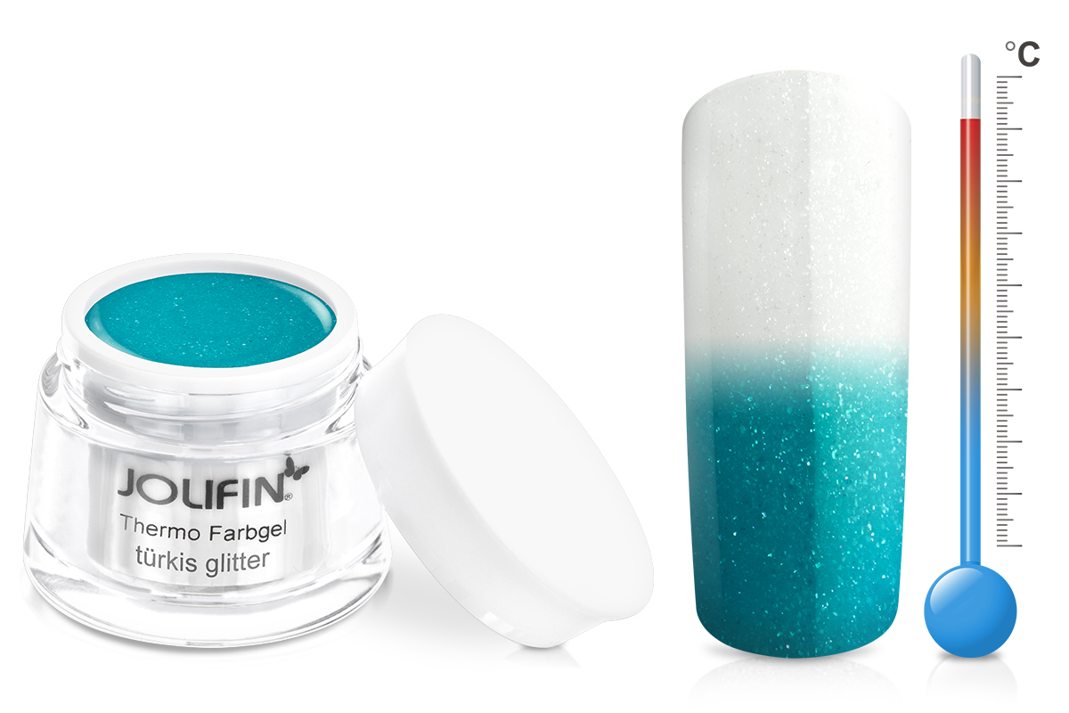 Jolifin Thermo Farbgel 4plus türkis glitter 5ml