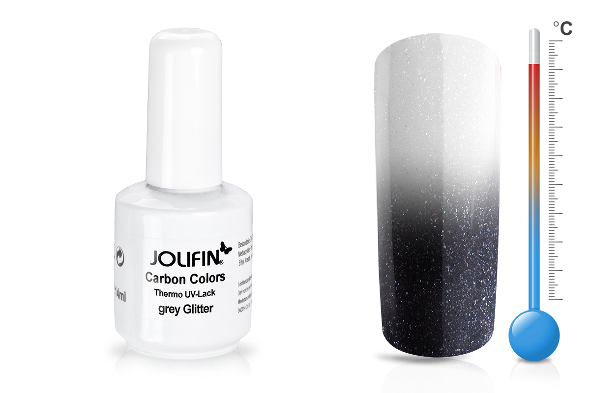 Jolifin Carbon Quick-Farbgel Thermo grey glitter 11ml