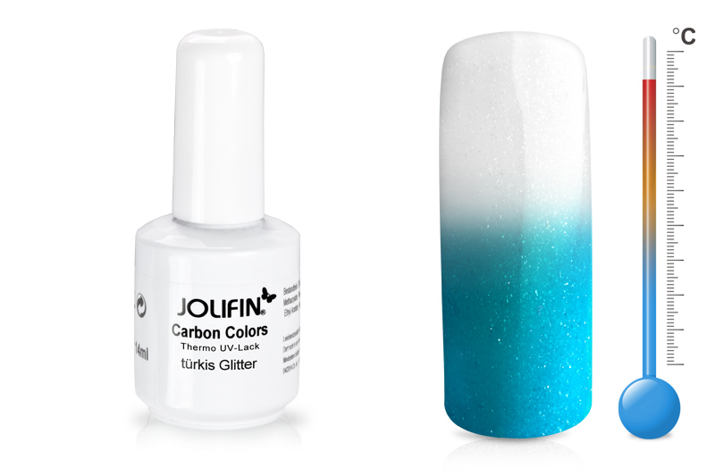 Jolifin Carbon Colors Thermo UV-Lack türkis glitter 11ml