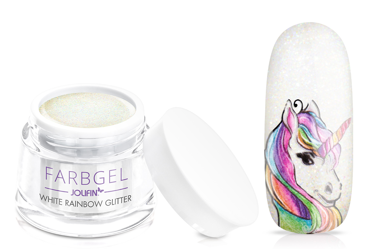 Jolifin Farbgel white rainbow Glitter 5ml