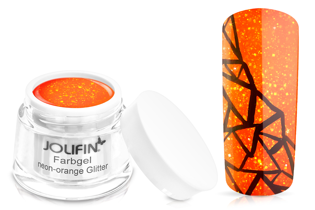 Jolifin Farbgel neon-orange Glitter 5ml