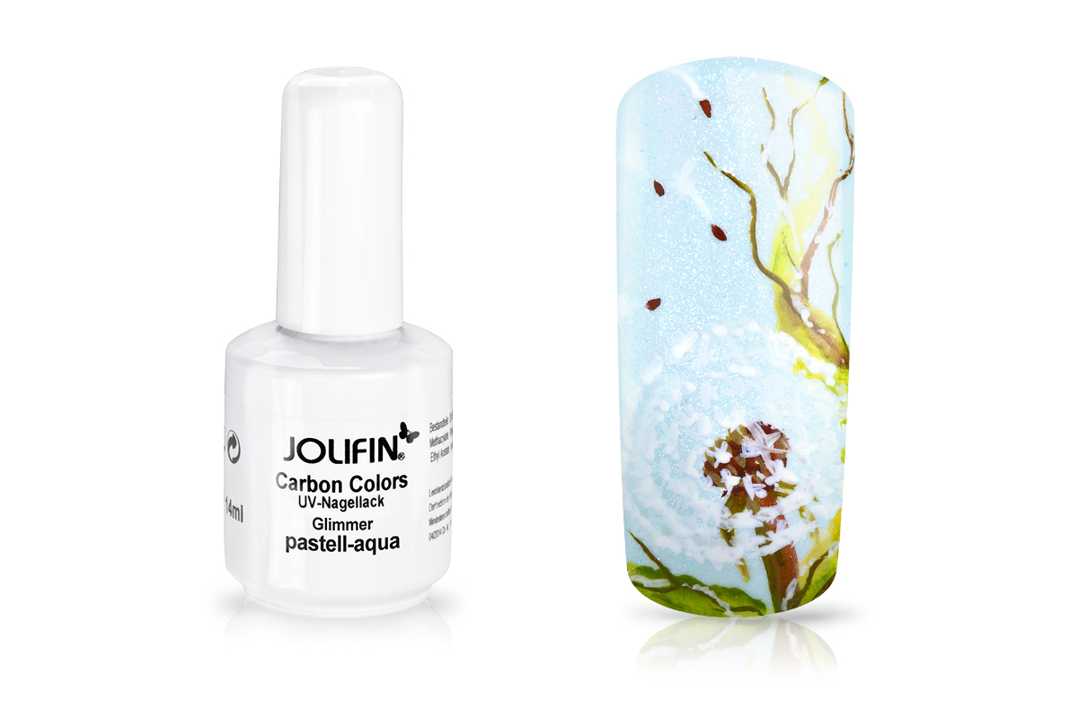 Jolifin Carbon Colors UV-Nagellack Glimmer pastell-aqua 14ml