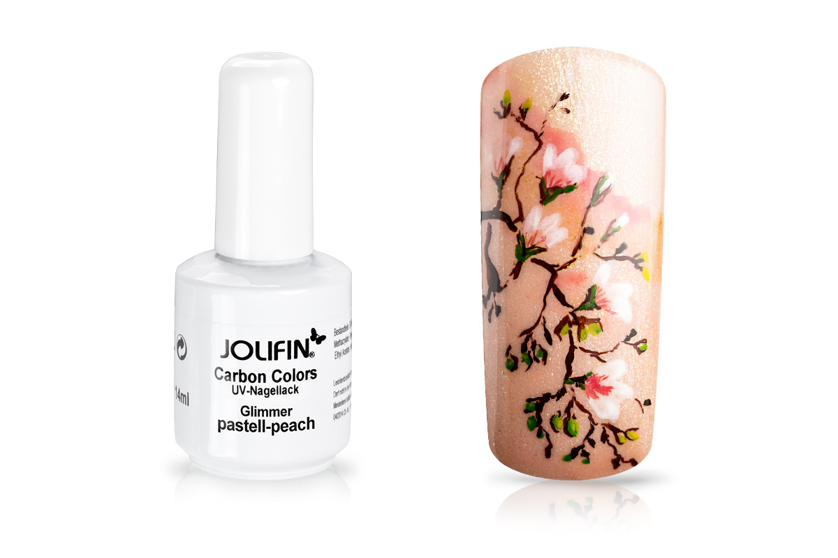 Jolifin Carbon Colors UV-Nagellack Glimmer pastell-peach 11ml
