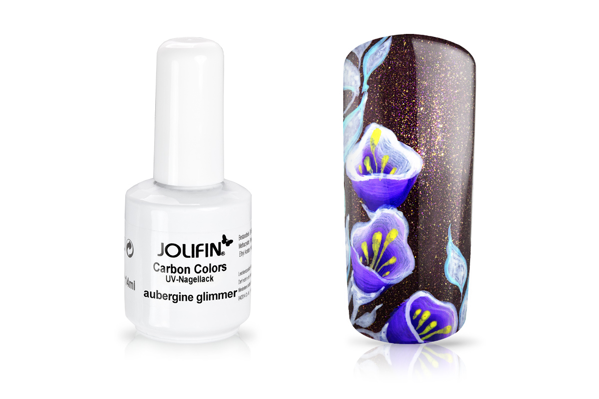 Jolifin Carbon Quick-Farbgel - aubergine Glimmer 11ml