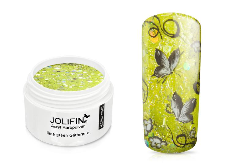 Jolifin Acryl Farbpulver - Lime Green Glittermix 5g