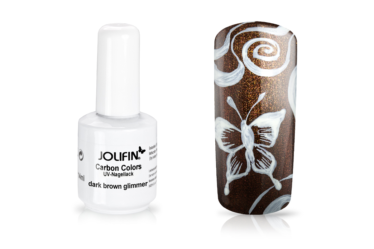 Jolifin Carbon Quick-Farbgel - dark brown Glimmer 11ml