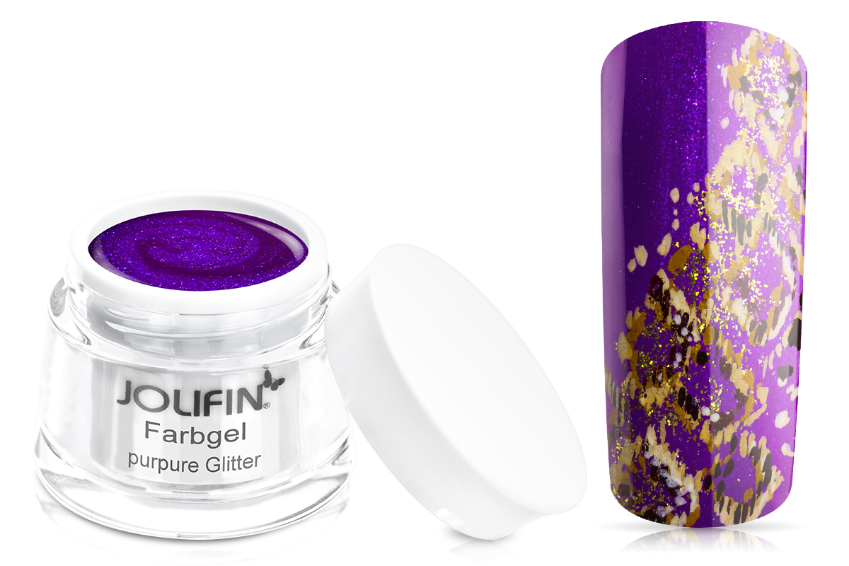 Jolifin Farbgel purpure Glitter 5ml