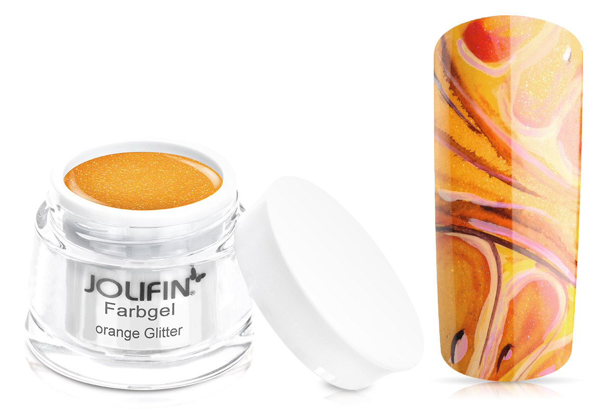 Jolifin Farbgel orange Glitter 5ml