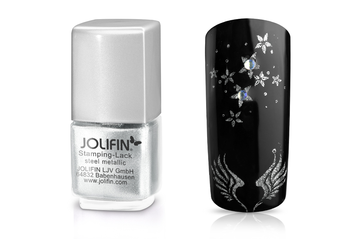 Jolifin Stamping-Lack - steel metallic 12ml