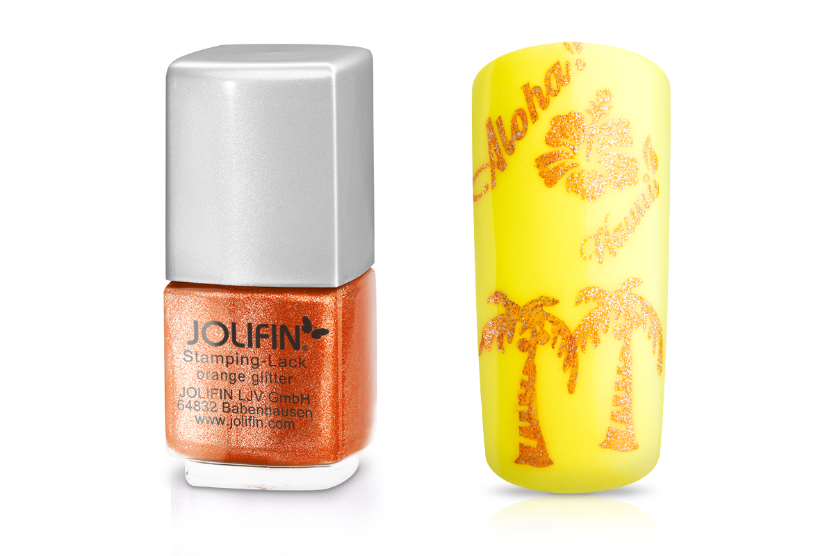 Jolifin Stamping-Lack - orange Glitter 12ml